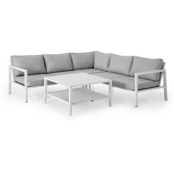 """Садовая мебель из алюминия """"Belfort & Chelles"""" с угловым диваном, цвет белый"""