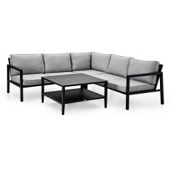 """Садовая мебель из алюминия """"Belfort & Chelles"""" с угловым диваном, цвет черный"""