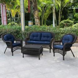 """Плетеная мебель """"Афина"""" с синими подушками"""
