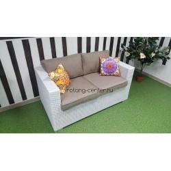 Плетеный диван «Louisiana» white & beige, 145 см