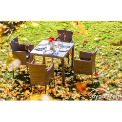 """Плетеная мебель """"Aroma"""" на 4 персоны, цвет светло-коричневый"""